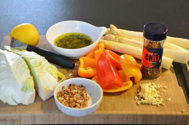 Grillede grøntsager før billede