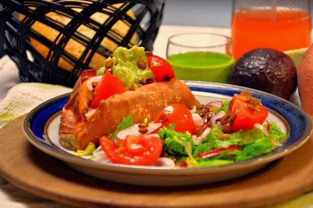 Fyldte søde kartofler – vegansk